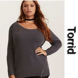 Torrid Distressed Zipper Pullover Sweater Top
